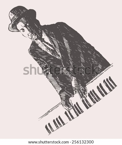 JAZZ concept, man playing the synthesizer, music vintage illustration, engraved retro style, hand drawn, sketch - stock vector