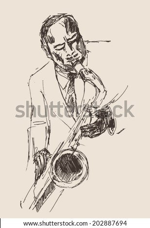 JAZZ concept, man playing the trumpet, music vintage illustration, engraved retro style, hand drawn, sketch - stock vector