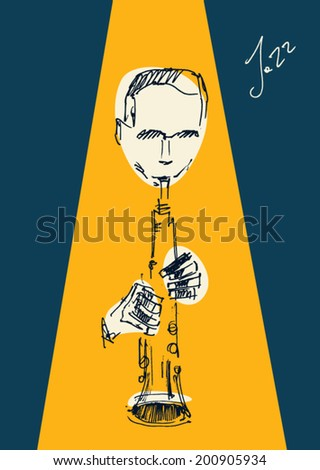 JAZZ concept, music  vintage illustration, engraved retro style, hand drawn, sketch - stock vector