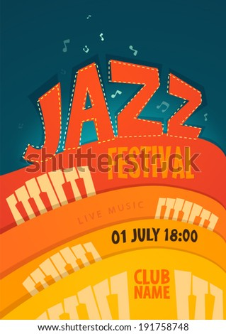JAZZ concert, music background, vector illustration, flat style - stock vector