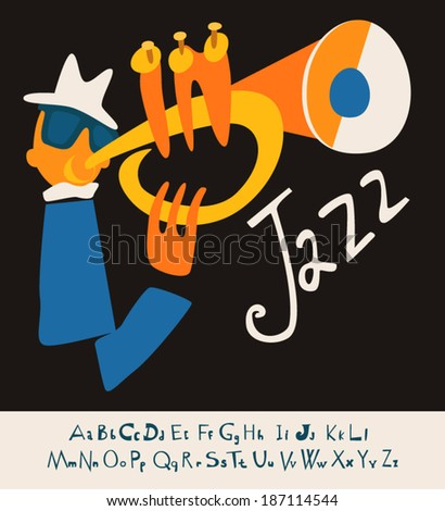 JAZZ concert, Music flat Illustration with font - stock vector