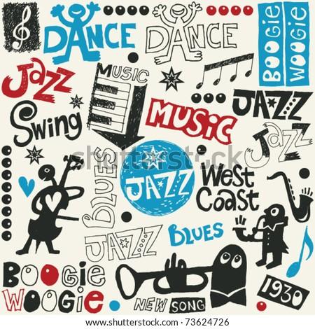 jazz doodle mix - stock vector