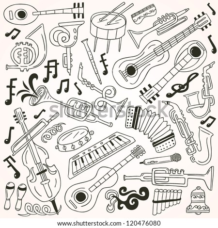 jazz - doodles collection - stock vector