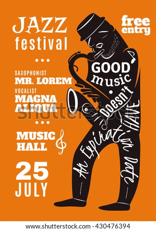 Jazz festival in music hall advertisement bill poster with black musician silhouette and lettering abstract vector illustration