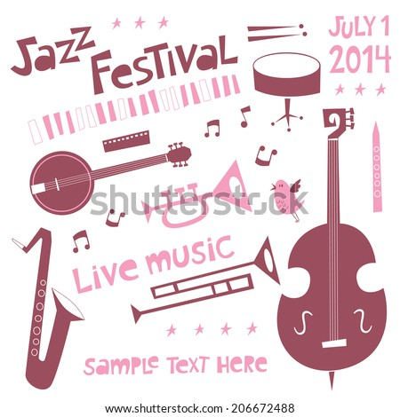 Jazz festival set in cartoon style with musical instruments - stock vector