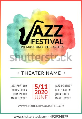 Jazz Festival Vector Background Poster. Flyer Design Music Template.  Musical Festival Event Flyer.  Event Flyer Examples