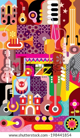 """Jazz Festival vector illustration. Graphic design with text """"Jazz"""".  - stock vector"""