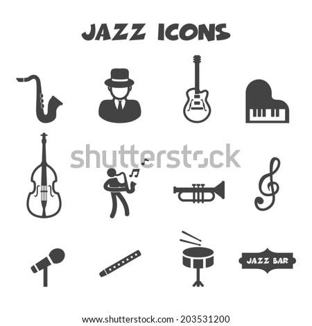 jazz icons, mono vector symbols - stock vector