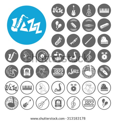 Jazz icons set. Illustration EPS10 - stock vector