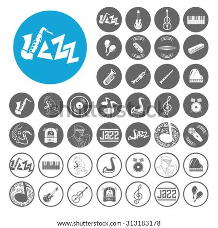 Jazz icons set. Illustration EPS10 - stock vector