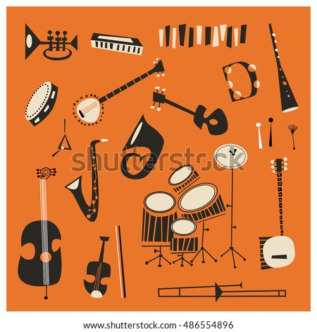 Jazz Instruments Stock Vector 486554896 Shutterstock