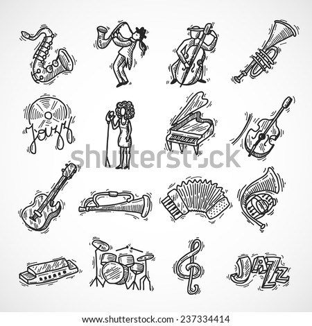 Jazz music club party icons sketch set with saxophone trumpet singer and double bass isolated vector illustration - stock vector