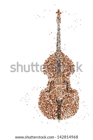 Jazz Music, contrabass made with circles for poster design - stock vector