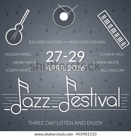 Jazz music festival, gray colored poster background template with musical instruments. - stock vector