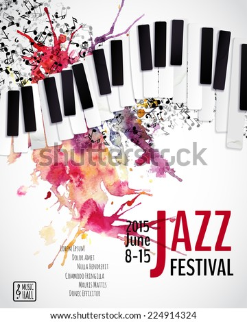 Jazz music festival, poster background template. Keyboard with music notes. Layers (background, texture, keyboard, text). Vector design.  - stock vector