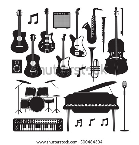 Jazz Music Instruments Silhouette Objects Set, Black and White Symbol and Icons Vector