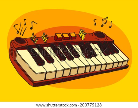 jazz music, piano, synthesizer, vintage illustration, engraved style, hand drawn, sketch - stock vector
