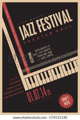 Jazz music, poster background template. 20 deg. rotation.  - stock vector