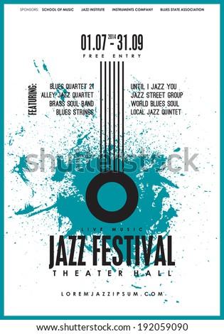 Jazz music, poster background template. Vector design. - stock vector