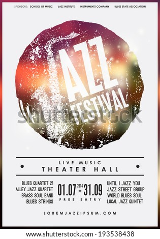 Jazz music, poster background template. Vector graphic design. - stock vector