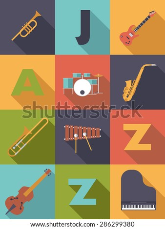 Jazz Music Poster Flat Design Vector Illustration. Jazz Music Poster with Flat Design Musical Instruments Icons - stock vector