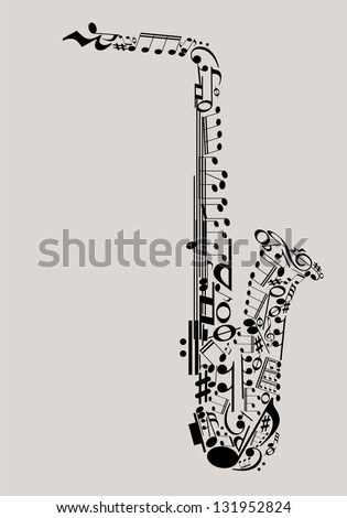 Jazz Music, saxophone made with musical symbols for poster design - stock vector
