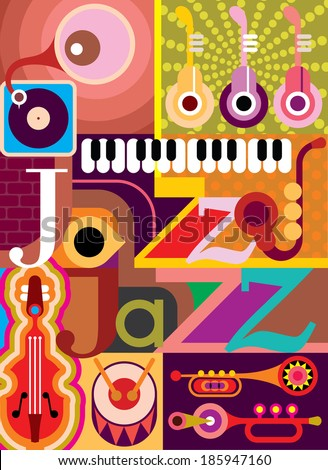 """Jazz. Musical collage - vector illustration with musical instruments and inscription """"Jazz"""". Design with text. - stock vector"""
