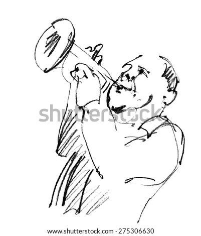 Jazz musicians playing music. Hand drawn pencil illustration of the emotional trumpeter player.   - stock vector