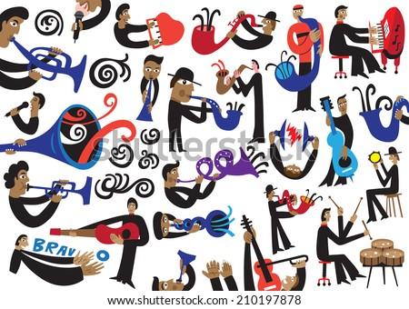 jazz musicians - vector illustration - stock vector