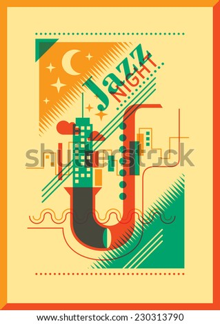 Jazz night poster design. Vector illustration. - stock vector