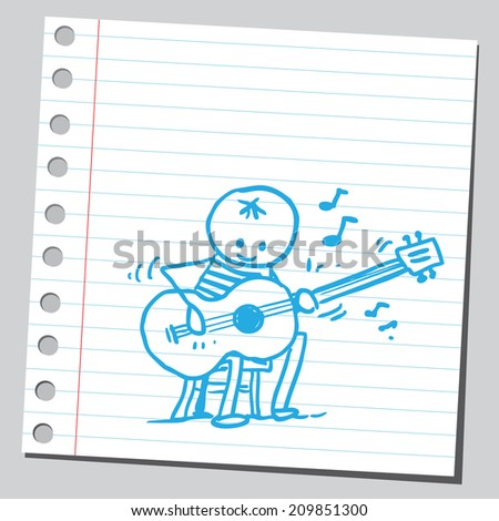 Jazz player guitarist - stock vector