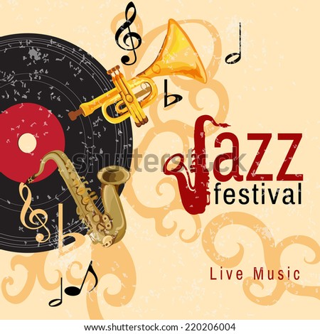 Jazz retro music festival concert live horn performance poster with black vinyl gramophone record abstract vector illustration