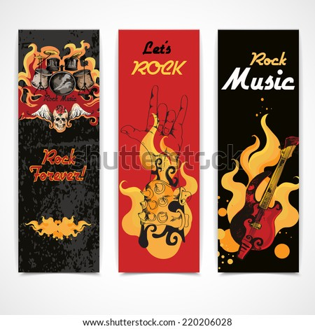 Jazz rock music festival concert banners set with electric guitar drums cymbals flames abstract isolated  vector illustration - stock vector