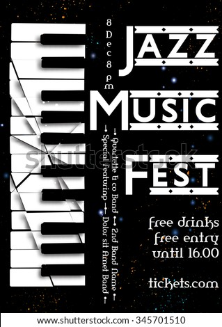 Jazz, rock or blues music poster template. Abstract  background with broken synthesizer for card, flyer, leaflet, brochure, banner, web design. - stock vector