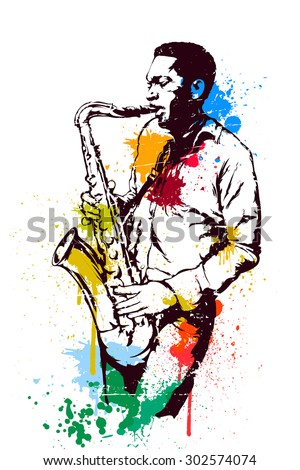 Jazz saxophonist, colored spots - stock vector