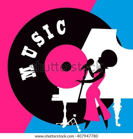 jazz singer performs sings near the piano style of pop art - stock vector
