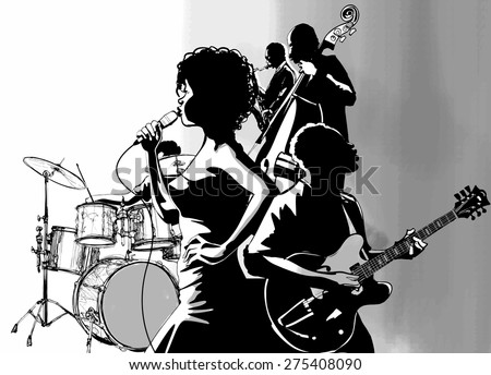 Jazz singer with guitar saxophone and double-bass player - Vector illustration - stock vector