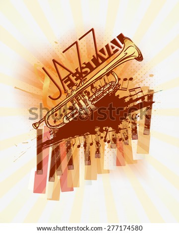 Jazz trumpet music festival background template - stock vector
