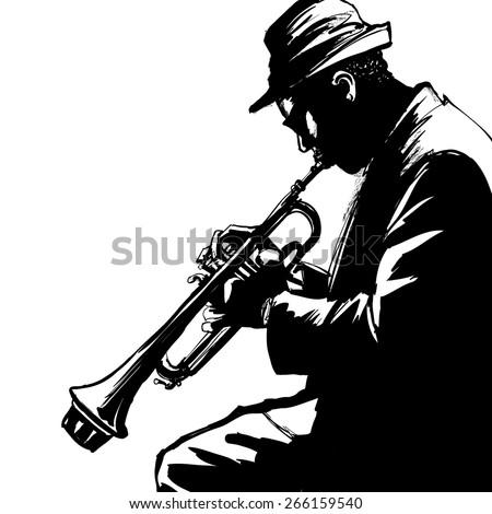 Jazz trumpet player-Vector illustration - stock vector