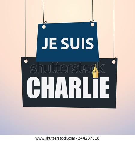 Je Suis Charlie - paper drop down - stock vector