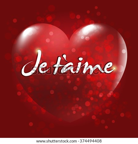 Je t'aime. English: I love you. Red Heart vector and typographic badge. Red background.