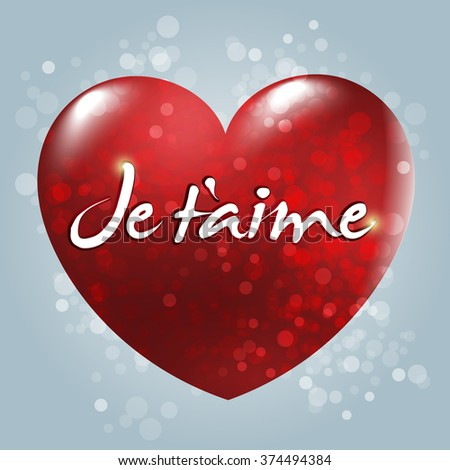 Je t'aime. English: I love you. Red Heart vector and typographic badge. White background.