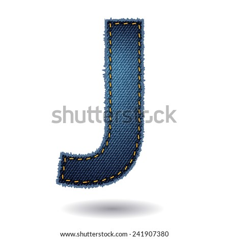 Jeans alphabet ( J ) isolated on white background, Vector illustration template design - stock vector