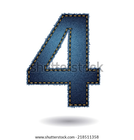 Jeans alphabet letters number 4, Vector illustration modern template design - stock vector