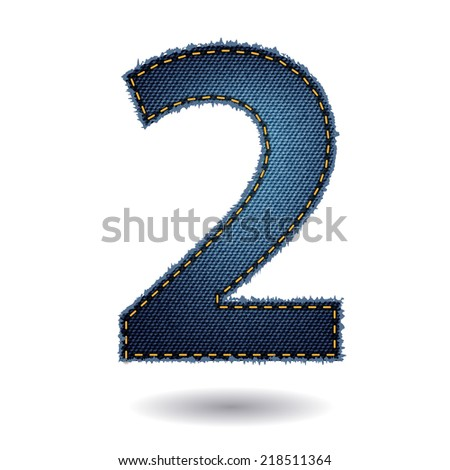 Jeans alphabet letters number 2, Vector illustration modern template design - stock vector