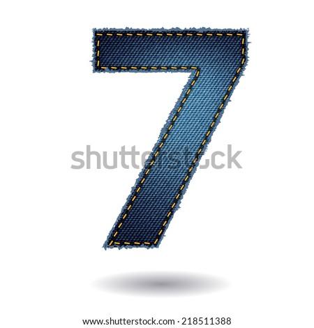 Jeans alphabet letters number 7, Vector illustration modern template design - stock vector