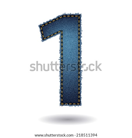Jeans alphabet letters number 1, Vector illustration modern template design - stock vector