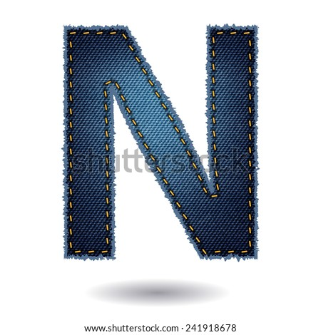Jeans alphabet ( N ) isolated on white background, Vector illustration template design - stock vector