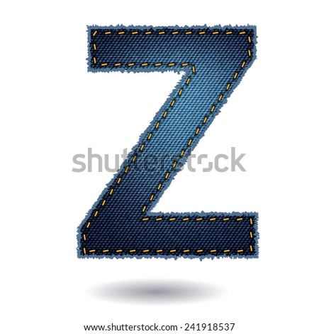 Jeans alphabet ( Z ) isolated on white background, Vector illustration template design