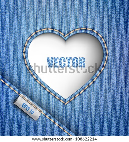 Jeans background. Denim heart. - stock vector